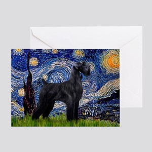 Starry Night Schnauzer Greeting Card