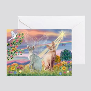 Cloud Angel / Sphynx cat Greeting Card