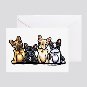 Four Frenchies Greeting Card