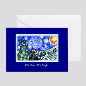 Starry Night Kitty Christmas Card