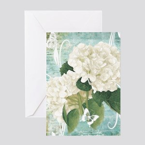 White hydrangea on blue Greeting Cards