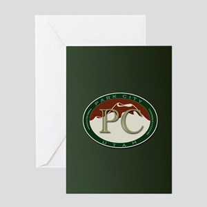 Park City Logo Medallion on Green Greeting Cards