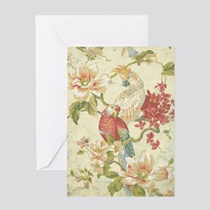 Beautiful vintage floral bird. Greeting Cards