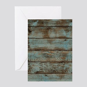 rustic western turquoise barn wood Greeting Cards