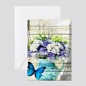 blue floral paris eiffel tower Greeting Cards