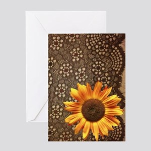 girly sunflower brown lace Greeting Cards