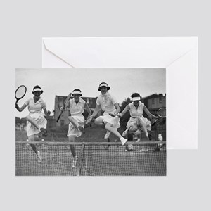 Women with Tennis Rackets Greeting Card