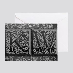 KW initials. Vintage, Floral Greeting Card