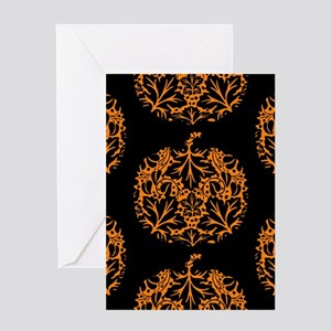 Pumpkin Damask Pattern Greeting Cards