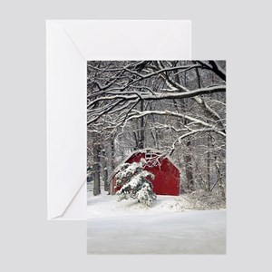 Red Barn in the Snow 2011 Greeting Cards