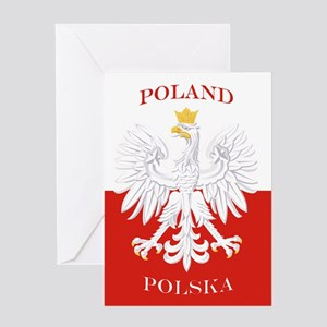 Poland Polska White Eagle Flag Greeting Cards