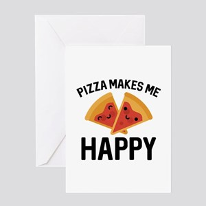 Pizza Makes Me Happy Greeting Card