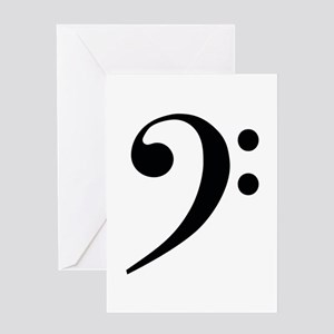 Bass Clef in Gold Greeting Cards