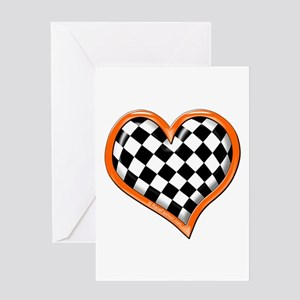 Orange Race Heart Greeting Card