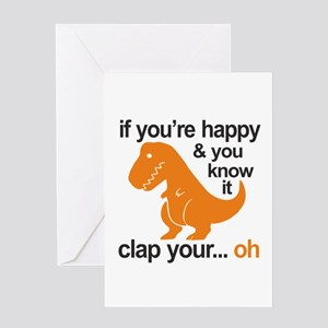 T-Rex clap your hands Greeting Card