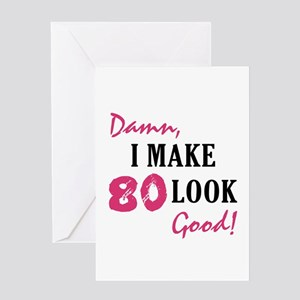 Hot 80th Birthday Greeting Card