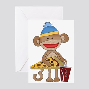 Sock Monkey snack time Greeting Card
