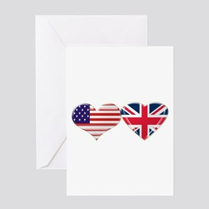 USA and UK Heart Flag Greeting Card