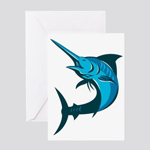 blue marlin fish jumping retro Greeting Card