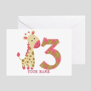 3rd Birthday Pink Giraffe Personalized Greeting Ca