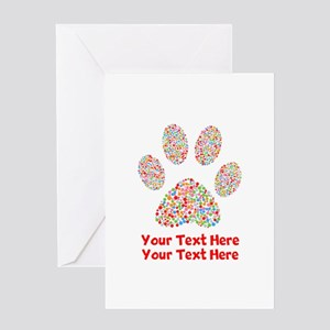Dog Paw Print Customize Greeting Card