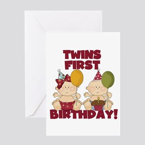 Twins 1st Birthday Boy Girl Greeting Card