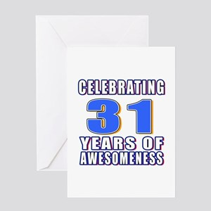 31st Birthday 31 Years Of Awesomeness Greeting Card