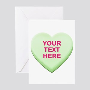 Green Custom Candy Heart Greeting Card