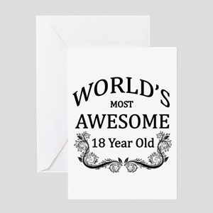 Worlds Most Awesome 18 Year Old Greeting Card