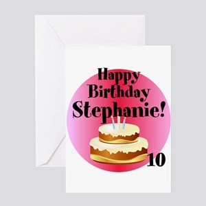 Girls 10th Birthday Personalized Name Age Cake Greeting Cards
