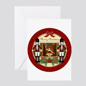 d0d4fefbbbfb1 Red Nutcracker ballerina round Greeting Cards