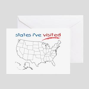 Usa Map Greeting Cards Cafepress - Us-map-states-i-ve-visited