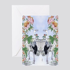 84 Dbl Curtains Crane Peony Floral B Greeting Card