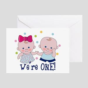 Were One Boy Girl Greeting Card