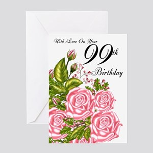 99th Birthday Greeting Card With Pink Roses