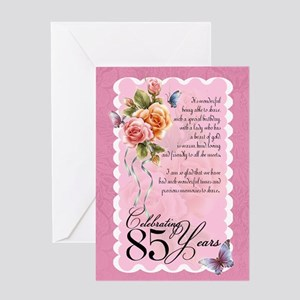 85th Birthday Greeting Card With Roses And Butterf