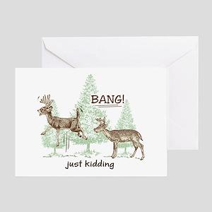 3c92ac5484 Funny Deer Hunting Greeting Cards - CafePress