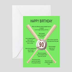 90th birthday, awful baseball jokes Greeting Cards