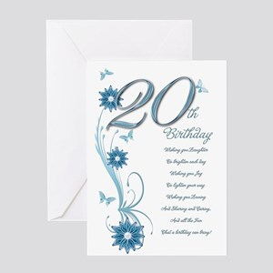 20th Birthday In Teal Greeting Card