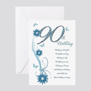 90th Birthday In Teal Greeting Card