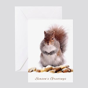 Season's Greetings Squirrel With Winter Nut Store