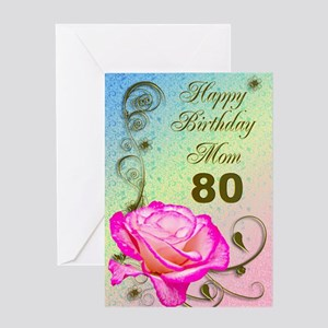 80th Birthday Card For Mom Elegant Rose Greeting