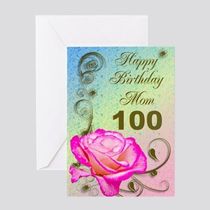 100th Birthday Card For Mom Elegant Rose Greeting