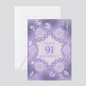 91st Birthday Lilac Dreams Greeting Cards