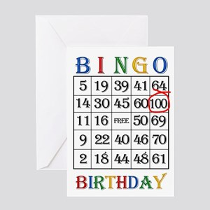 100th birthday Bingo card Greeting Cards