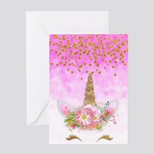 Fantasy Pink Unicorn Greeting Cards