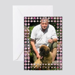 Personalizable Pink Bling Frame Greeting Card