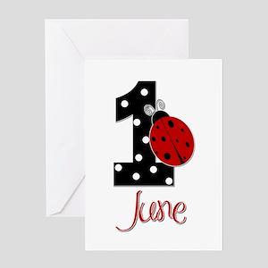 Ladybug 1st Birthday Greeting Cards