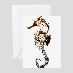 Industrial Sea Horse Greeting Cards
