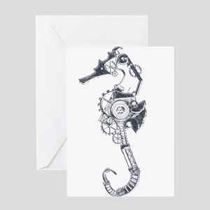 Silver Industrial Sea Horse Greeting Cards